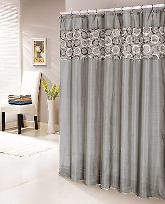 Silver Gray Faux Silk Shower Curtain with 14