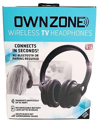 Sharper Image OWN ZONE Wireless TV Headphones Rechargeable Battery Block Sound