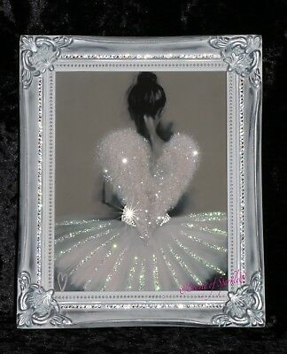 Angel Ballerina Glitter picture, Silver Shabby Chic Framed or Canvas! Any - Ballerina Picture Frame