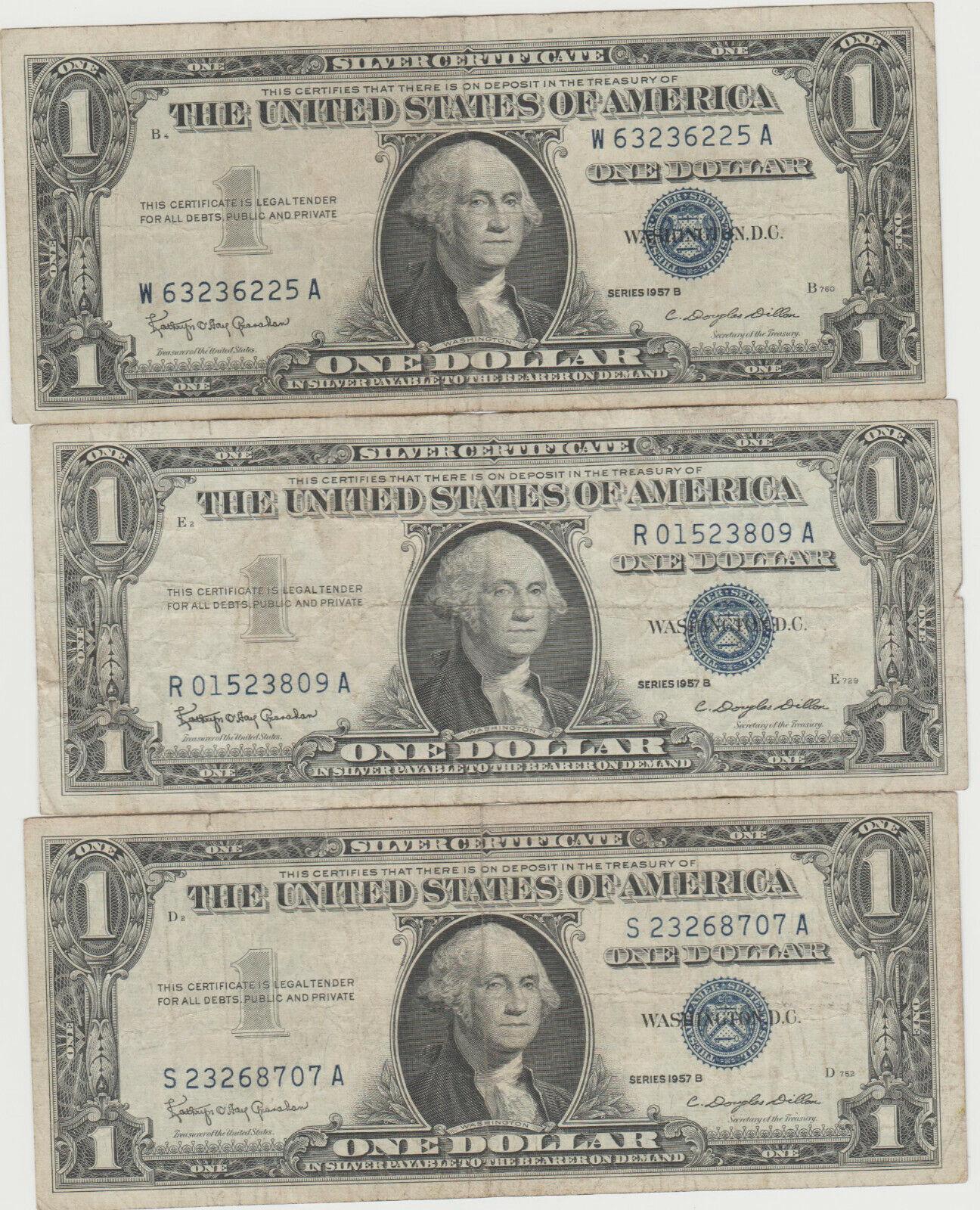 3 1957-B Silver Certificates - $7.99
