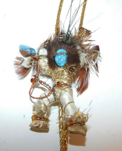 Handcrafted Dancing Kachina Bolo Tie Feathered Beaded