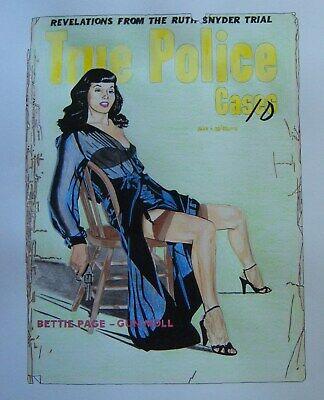 Original art - BETTIE PAGE, GUN MOLL - 2019 noir art - pulp art - pin-up - GGA ()