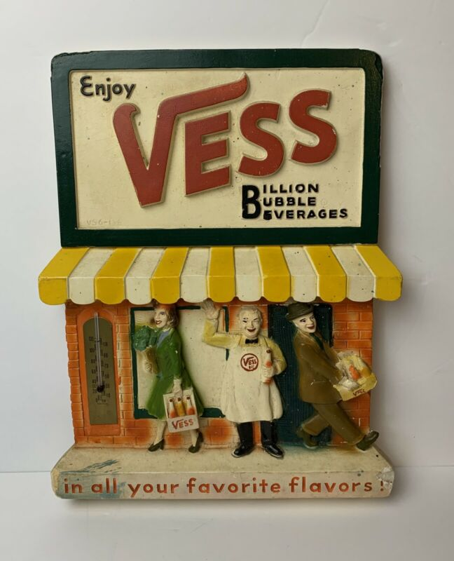 RARE Vintage ENJOY VESS BEVERAGES Soda 3D Chalkware Thermometer Sign