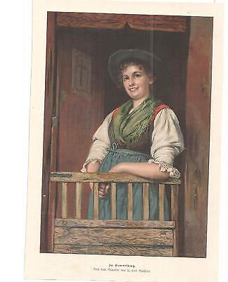 von MUELLER - in ERWARTUNG -  - 1898 -  alter Druck - LITHO - original