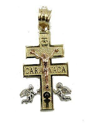 Caravaca Cross 14k Three Tone Gold Pendant - Caravaca Cross Pendant 14k Gold