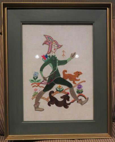 "Vintage Crewel Needlepoint Wall Art Piece ""The Enchanted Hunter"" Silk 23""x 8"""