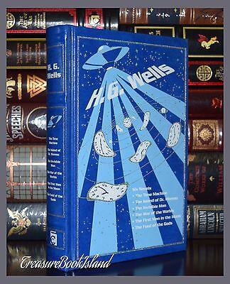 Novels by H.G. Wells Moon War Time Machine Moreau Invisible New Leather Bound