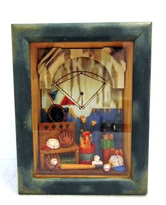 (Russ Berrie Wall Shadow Wooden Box Handcrafted Sports Memorabilia Glass Framed)