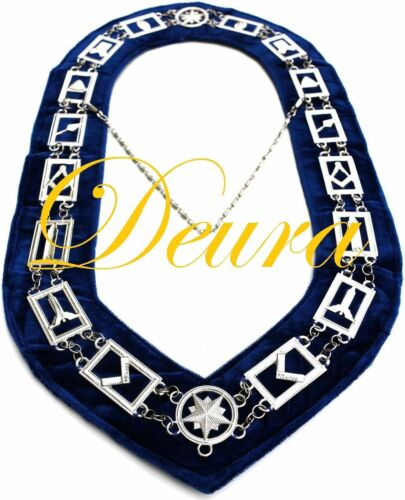 Masonic Officer Dress Collar Chain Working Tools Master Mason MM BLUE Backing