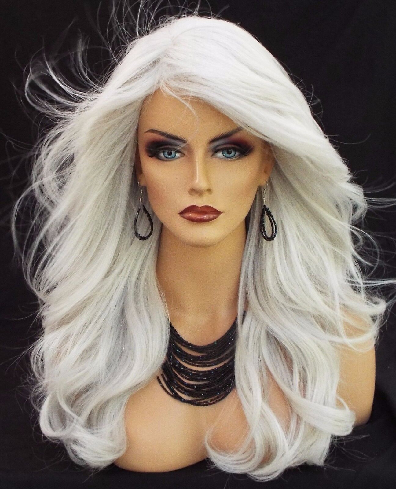 LONG WAVY HEAT FRIENDLY WIG COLOR 60 WHITE GORGEOUS SEXY ...