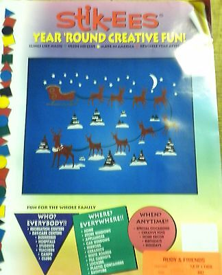 Christmas Decoration Clings Rudolph & Friends Reindeer Window Cling Reusable NEW
