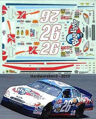 NASCAR DECAL #26 BLUELIGHT.COM BIG KMART 2000 FORD TAURUS JIMMY SPENCER SLIXX for sale  Shipping to India