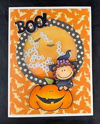 Interactive Halloween Cards (Handmade SHAKER Greeting Card~Cute Pumpkin)