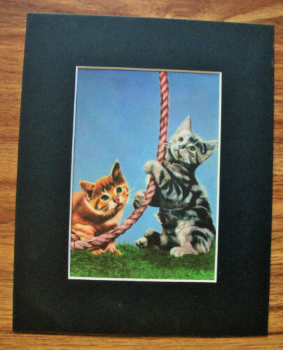 Print Kittens Rope Peggy Burrows Gajda Orange Gray Cats 1955 Bookplate Matted
