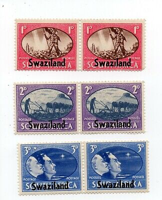 Swaziland; sg39-41, pairs; 1d, 2d and 3d Victory;  mint unhinged