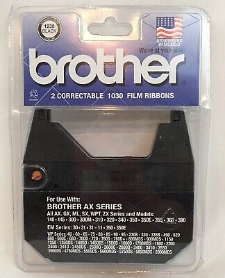 2pc Brother Typewriter Ax Series 1230 Black Ink Correctable 1030 Film Ribbons