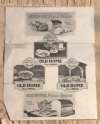 "Vintage Advertising Detriot Baking Co Potato Bread Flyer #PW38 9 X 11"" Free Ship"
