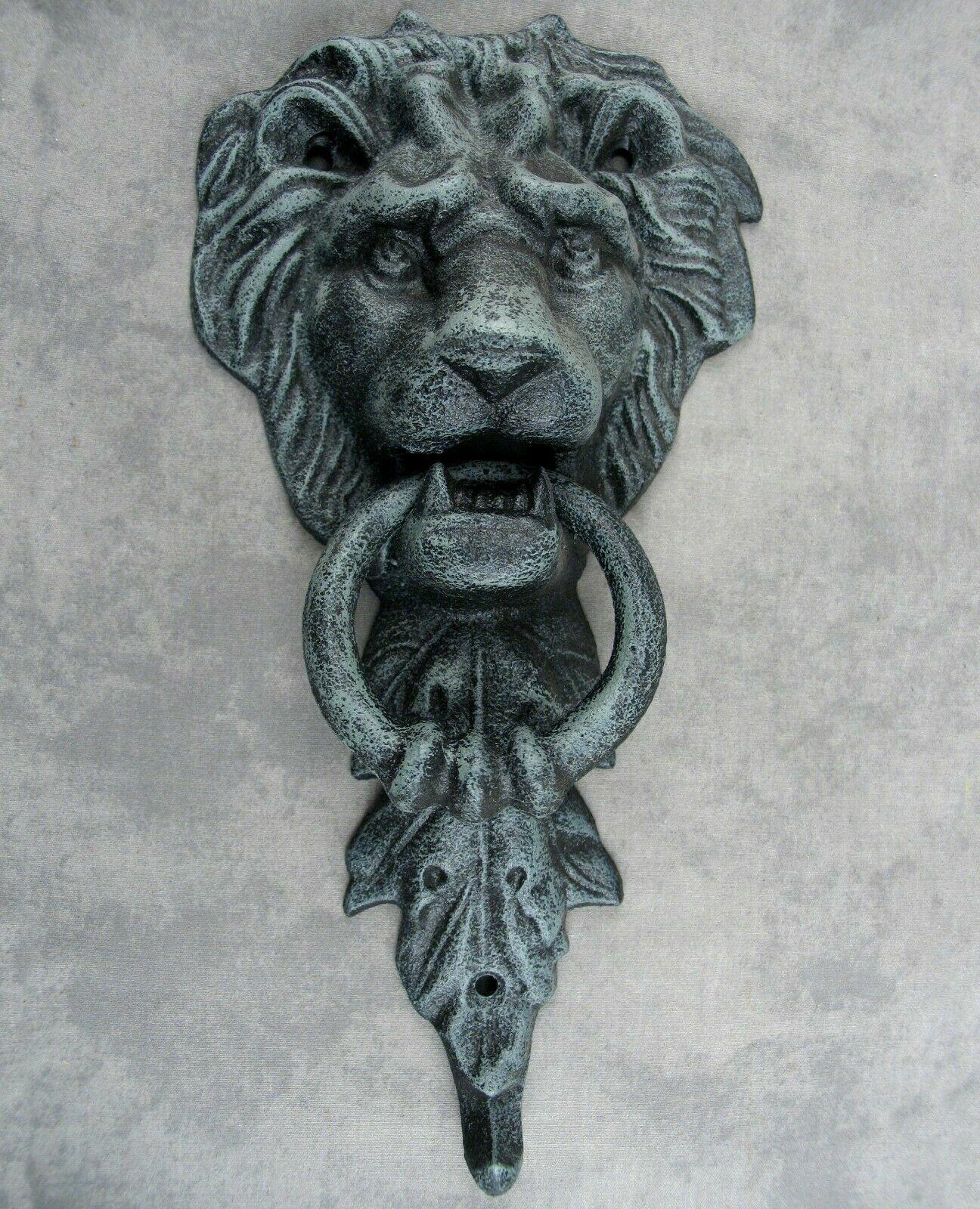 Majestic Lion Head Cast Iron Door Knocker Antiqued Verdigris Green Doorknocker