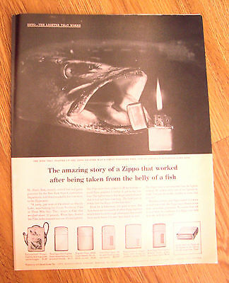 1960 ZIPPO Lighter Ad Great Northern Pike that Snapped up the Zippo Lighter