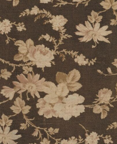Antique Fabric 1870 Twill Brown and Cream Rambling Roses