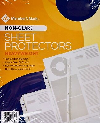 Member Mark Sheet Protectors Heavyweight 8.5 X 11 Non-glare 100 Or 250 Count