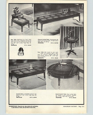 1960 PAPER AD Table Cocktail Lane Round Drum End Dining Room Caldwell Buffet