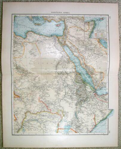 Northeast Africa - Original 1899 Map by Velhagen & Klasing. Egypt Large Antique