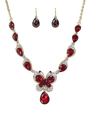 Sparkling Red Crystal Butterfly Statement Necklace and Earring Set - NEW ()