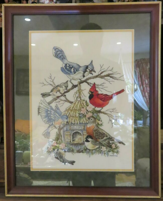 "Finished Cross Stitch Birds and Birdhouse Art Piece Framed 26""x 21"" 2006"