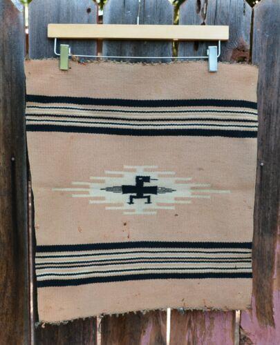 "Old Vintage Chimayo Handwoven Square Rug - Thunderbird - 20"" x 18.5"""