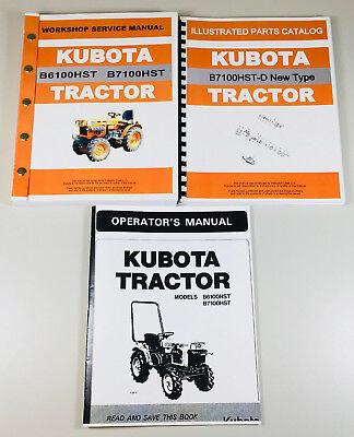 Kubota B7100hst-d New Type Tractor Service Parts Operators Manual Shop Set