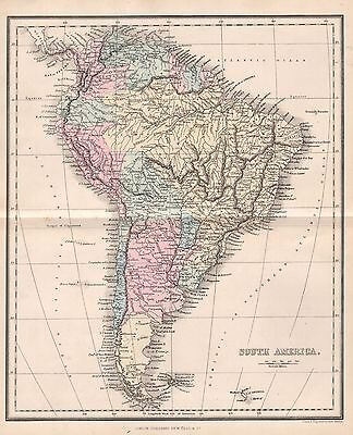1858 ANTIQUE MAP SOUTH AMERICA