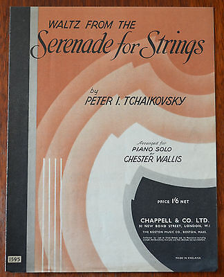 Waltz From The Seranade For Strings by Peter Tchaikovsky – Piano Solo – Pub.1942