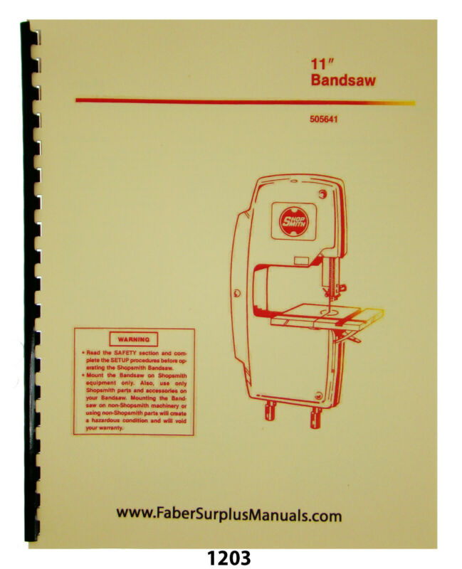 "Shopsmith 11"" Bandsaw 505641 Operator & Parts List Manual #1203"