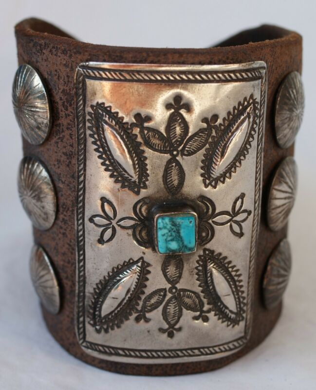 Vintage Navajo Indian Turquoise Tooled Silver Ketoh Bow Guard Bracelet
