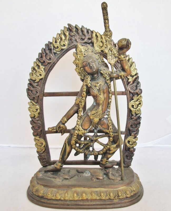 "9"" Vintage Indian / India Copper & Brass VAJIRAYOGINI Statue with Flames & Spear"