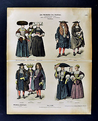 1880 Braun Costume Print 17th c. German Dress - Strasburg Fashion Germany Frauen