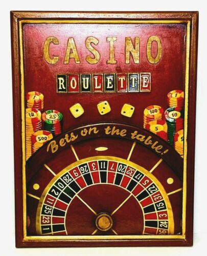 Vintage Retro CASINO ROULETTE 3D WOOD WALL SIGN Game Room Gambling