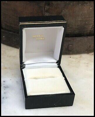 Vintage Navy Bakelite Gilt Trim Silk Velvet Interior Ring Box