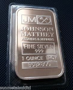 1 oz Johnson Matthey Silver Bar 999 Silver Uk Bullion Seller (£22.70 All IN)