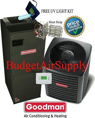 3 Ton Goodman A/C 16 Seer Air Conditioning Split System GSX160361+ASPT47D14+UV