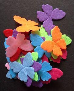 Felt Butterfly Mixed Colour Embellishments 30mm 25pcs