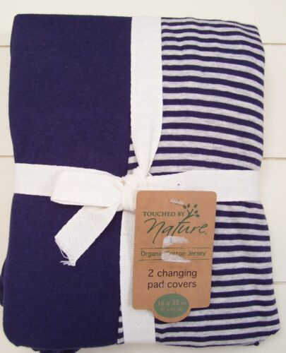 Boys Touched by Nature 2 Blue Organic Cotton Jersey Changing Pad Covers 16 x 32