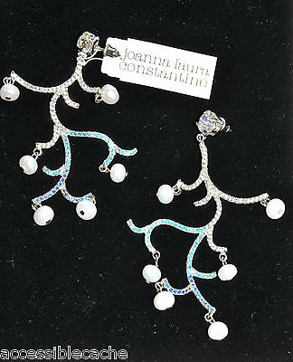 Joanna Laura Constantine Blue Silver Vine Dangle Earrings w/ Pearls & Zirconia
