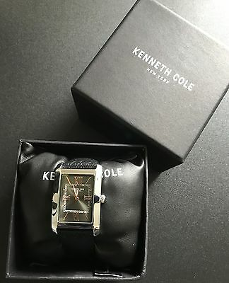 NWT Kenneth Cole Black Leather Band Men's Watch Square Face Gold Dial