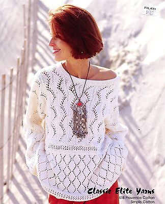 - Classic Elite CEY KNITTING PATTERN #418 Point D'Esprit Cotton Pullover for Women