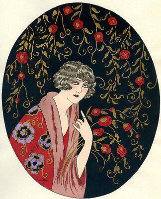 1930s French Pochoir Print Young Flapper Woman Fashion w/ Roses Jacquelyn (L)