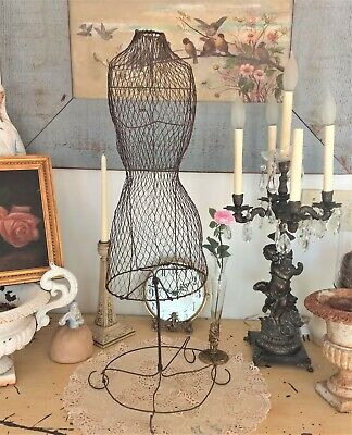 Omg Antique French Wire Dress Formtwisted Metaljewelry Displaydollmannequin