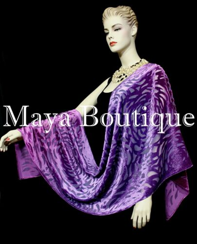 Maya+Matazaro+Hand+Dyed+Purple+Mulberry+Camellia+Shawl+Wrap+Scarf+Burnout+Velvet