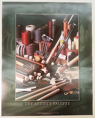 """ ARTIST'S PALETTE "" POOL CUE / BILLIARD CUE MAKER / COLLECTORS POSTER 16 X 20"